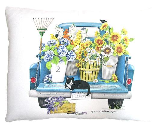 Flower Truck Pillow, MLT806, 2 sizes