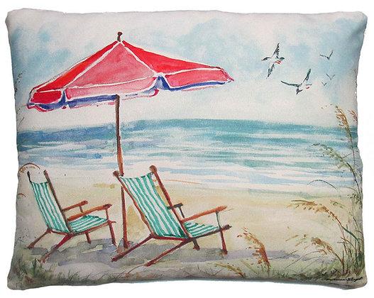 Beach Chairs & Umbrella Pillow, SW207, 2 sizes