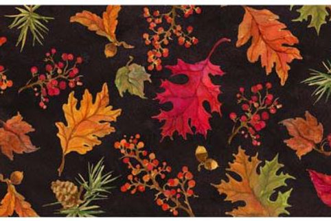 "Fall on Black Background Table Runner, SR905RNR, 14""x 60"""