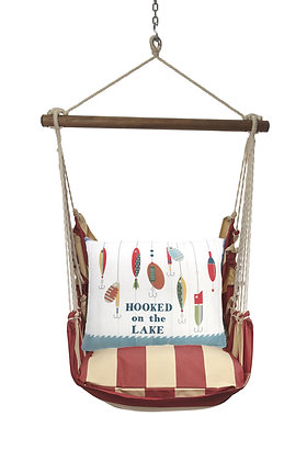 Hooked on the Lake Pillow on Americana Stripe, AMSN901-SP