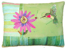 Hummingbird and Daisy Pillow, RRHBPF, 2 sizes