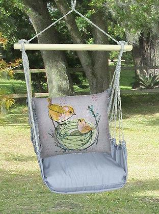 Birds in Nest Pillow on Gray Fabric, GRRR201-SP