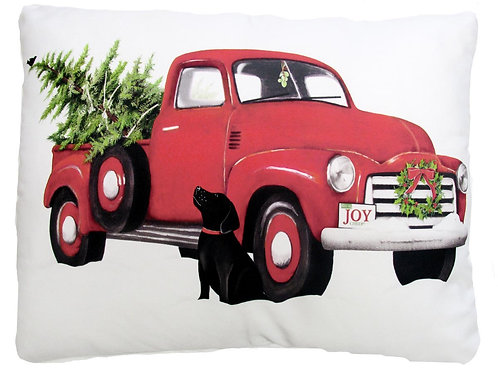 MLT713HP, 19x24, Red Truck w/ Dog and Tree