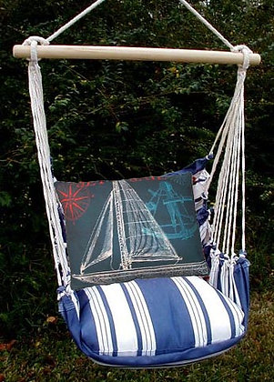MA Swing Set w/ Navy Sailboat Pillow, MATC503-SP