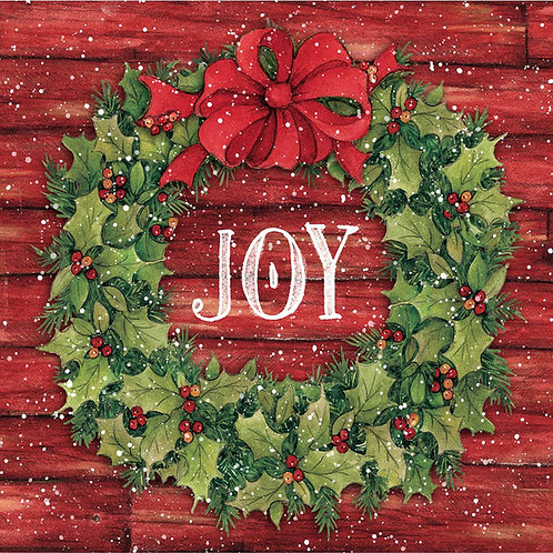 SW907LCS, Joy in Wreath, 18x18 only