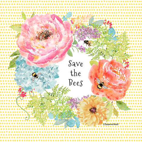 """SN110LCS, Save the Bees, 18""""x18"""""""