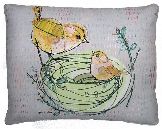 Birds in Nest Pillow, RR201, 2 sizes