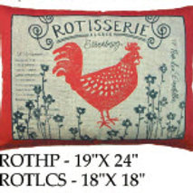 Rooster Pillow, ROT, 2 sizes
