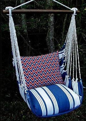 Marina Stripe Swing Set w/Chevrn Pillow,MAK5MA-SP