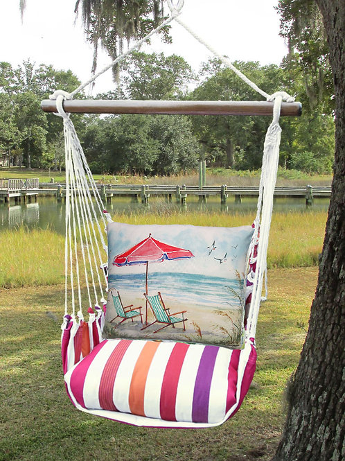 Red Umbrella and Beach Chairs Swing Set, CRSW207-SP