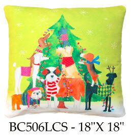 Christmas Tree with Dogs, BC506 LCS, 18x18