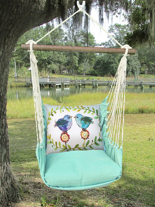 Seafoam Swing Set w/ Bluebirds, SFRR503-SP