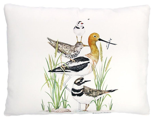 Stacked Shorebirds Pillow, MLT901, 2 sizes available