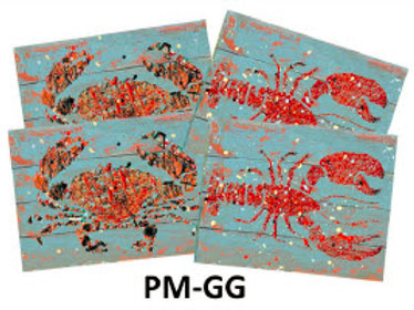 Set of 4 Place Mats, Crabs and Lobsters, PM-GG