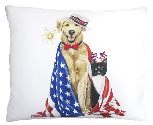 Patriotic Dogs Pillow, MLT805, 2 sizes
