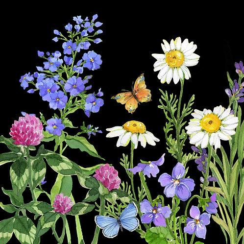 "SR210LCS, Floral w/ Black Background, 18""x18"""