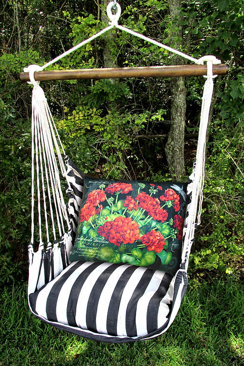 TB Swing Set w/ Geraniums Pillow, TBGERB-SP
