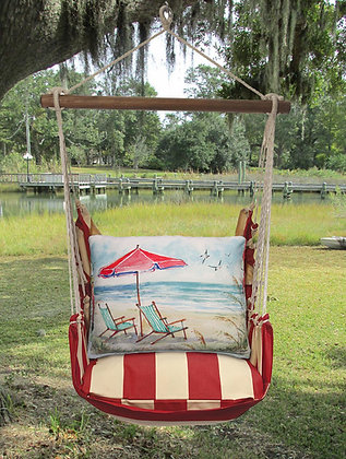 Chairs and Umbrella Beach Pillow on Americana Stripe, AMSW207-SP