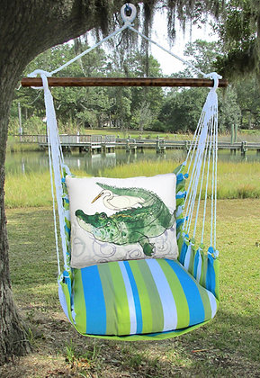 Alligator and Egret Pillow on Beach Boulevard Fabric, BBRR708-SP