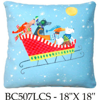 Dogs in Sleigh, BC507LCS, 18x18