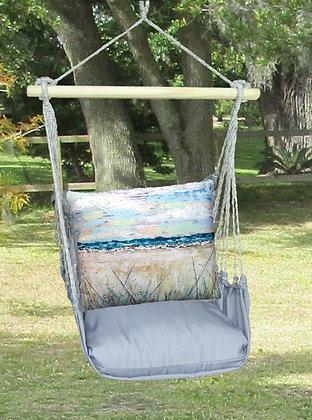 Beach Landscape 1 Pillow on Gray Fabric, GRLS202-SP