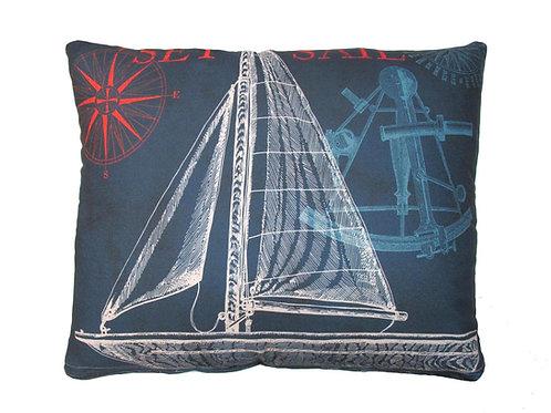 Navy Sailboat Pillow, TC503, 2 sizes