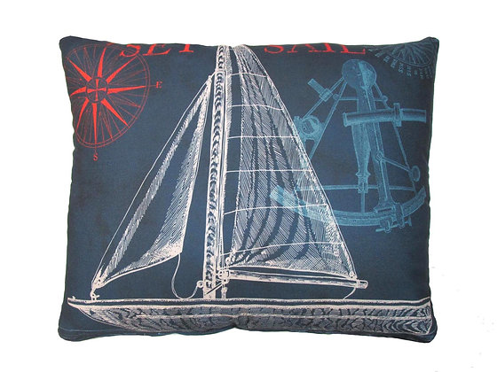 MA Pillow, Navy Sailboat, TC503HP, 19x24