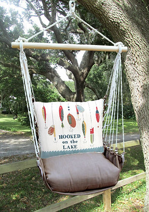 Hooked on the Lake Pillow with Chocolate Swing Set, CHSN901-SP