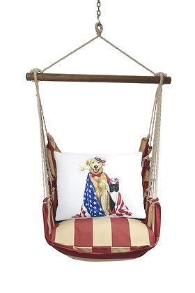 Patriotic Dogs Pillow on Americana Stripe, AMMLT805-SP