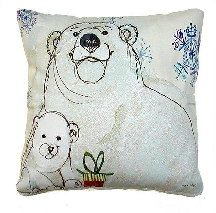 Polar Bear Pillow, RRPBLCS, 18x18