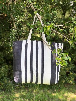 Black Stripe Fabric Tote