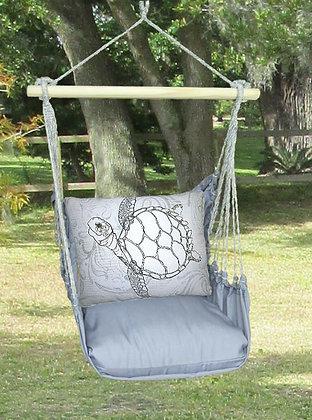 Sea Turtle Pillow on Gray Fabric, GRRR208-SP