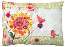 FL Pillow, Birds and Flowers, RRWMBLCS, 18x18