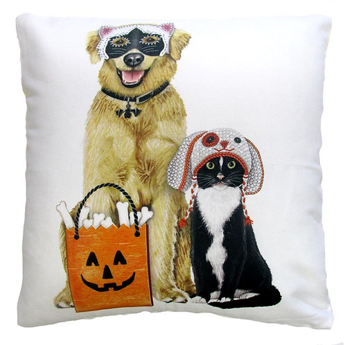 MLT715LCS, Dog & Cat Trick or Treat, 18x18
