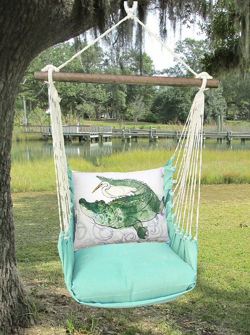 Seafoam Swing Set w/ Alligator & Egret, SFRR708-SP