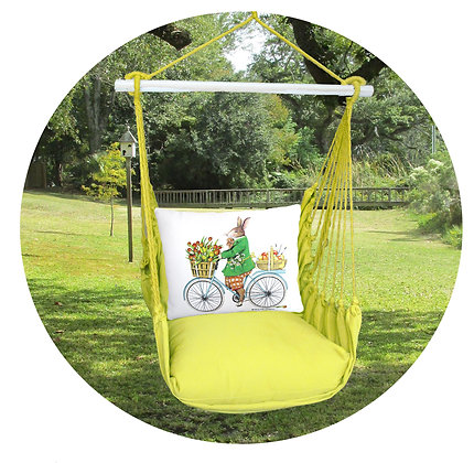 Bunny on Bicycle on Lime Fabric, LMMLT803-SP