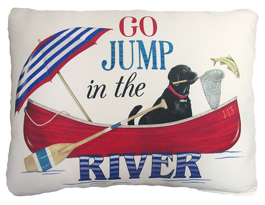 Go Jump in the River Pillow, MLT807, 2 sizes