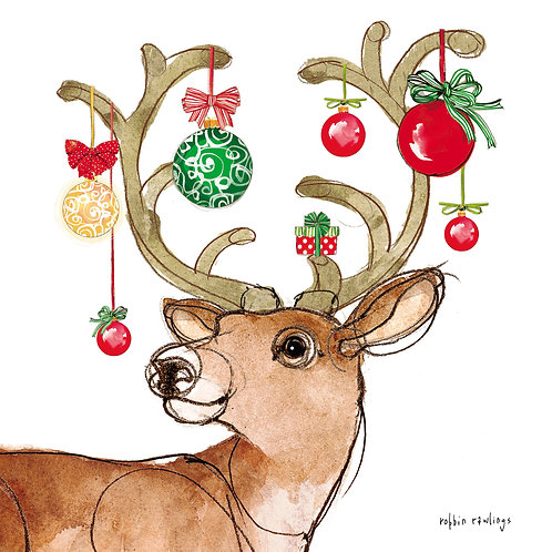 Reindeer with Ornaments, RR819LCS, 18x18