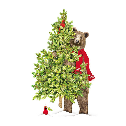 MLT709LCS, Bear w/ Christmas Tree, 18x18