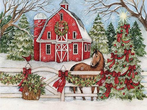 SW711HP, 19x24, Horse w/ Winter Barn