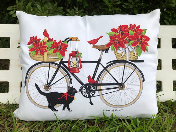 Christmas Bicycle with Cat, MLT901HP, 19x24