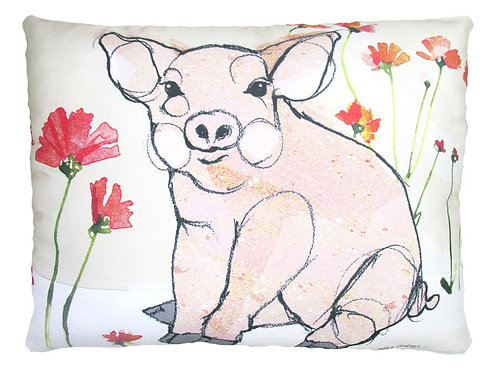 Piglet with Poppies, RR812HP, 2 sizes