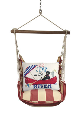 Jump in the River Pillow on Americana Stripe, AMMLT807-SP