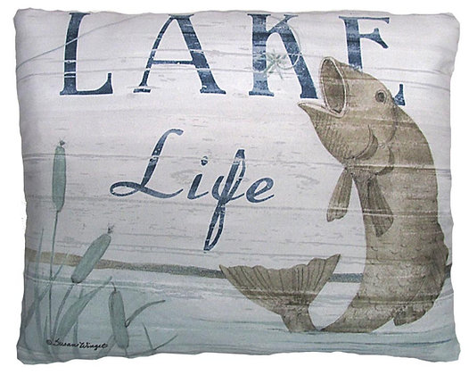 Lake Life Fish Pillow, SW203, 2 sizes
