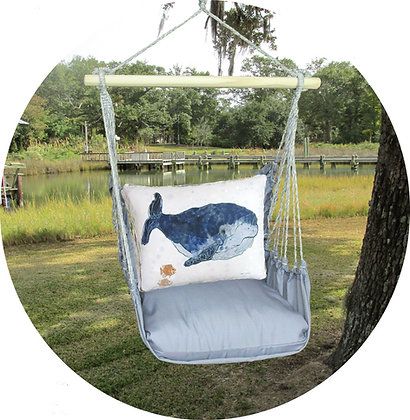 Blue Whale Pillow on Gray Fabric, GRRR810-SP