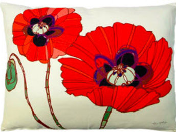 TB Pillow, Red Poppies, RRPGLCS, 18x18