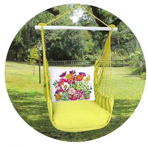 Lime Swing Set w/ Spring Floral Pillow, LMMLT802-SP