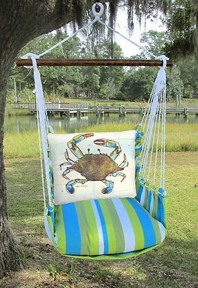Blue Crab Pillow on Beach Boulevard Fabric, BBRR907-SP