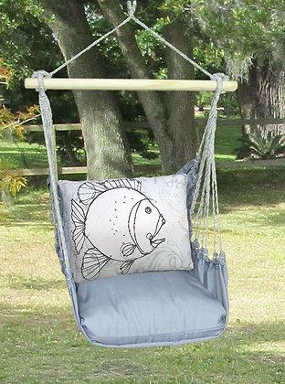 Fish Pillow on Gray Fabric, GRRR206-SP
