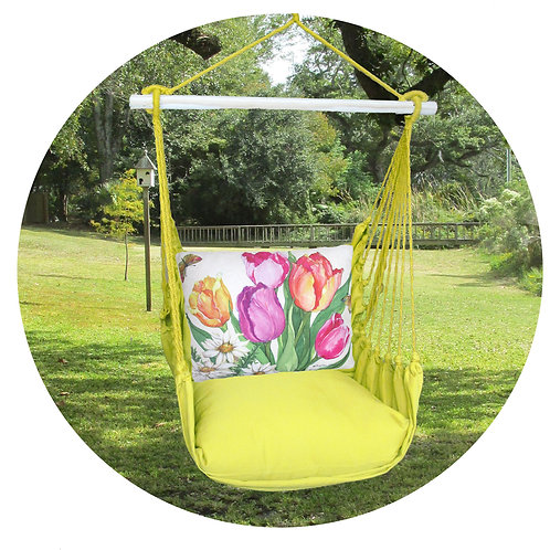 Lime Swing Set w/ Tulips Pillow, LMSR805-SP